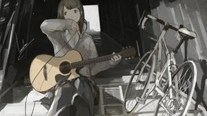Anime Girls Artwork Skirt Bicycle Guitar Music Long Sleeves Loundraw Brunette Sitting Headphones Sch 1984x1323 Wallpaper