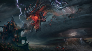 Castle Dragon Lightning Town 2500x1254 wallpaper