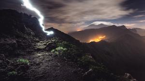 Landscape Nature Mountains Grass Plantes Clouds Sky Lightning Volcano 4790x2994 Wallpaper
