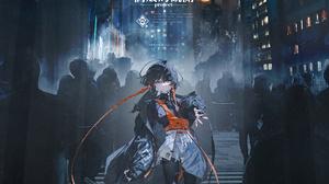 Portrait Display Anime Girls Rolua Noa Orange Eyes Short Hair Dark Hair Anime City Night 5143x6857 wallpaper