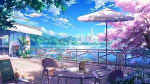 Jun Zhang Fantasy Art Digital Art Asian Architecture Landscape City Cherry Blossom Coffee Coffee Hou 1920x1077 Wallpaper