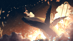 Anime Anime Girls Stars Space Universe Fish Clouds Whale Dancing Trumpet Redhead Dress 4096x2246 Wallpaper