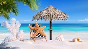Beach Sand Shell Starfish Summer Tropical 8000x4760 Wallpaper
