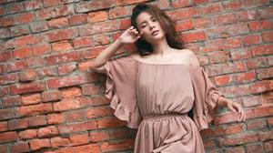 Women Model Wall Bricks Brunette Standing Asian Painted Nails 2048x1365 Wallpaper