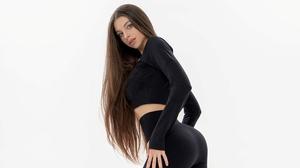 Anna Sazonova Women Model Brunette Long Hair Looking At Viewer Gray Eyes Parted Lips Black Clothing  3840x2560 Wallpaper
