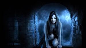 Arch Fantasy Girl Gothic Night Stone Woman 1600x1200 Wallpaper