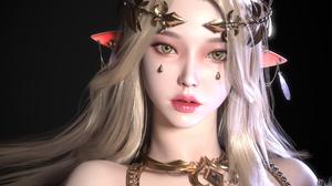 Jaesoub Lee CGi Women Elves Blonde Crown Glamour Pointy Ears Portrait Looking At Viewer ArtStation F 1920x1400 Wallpaper