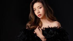 Asian Model Women Long Hair Brunette Bare Shoulders Feathers Black Dress Black Background 1920x1277 Wallpaper