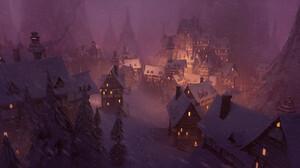 Thomas Stoop Digital Art Fantasy Art Winter Snow Village Night Snowing 1920x960 Wallpaper