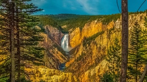 Landscape Nature Usa Waterfall Yellowstone 2048x1152 Wallpaper
