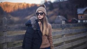 Brunette Model Women Wool Cap Women With Shades Sweater Jacket Holding Jacket Black Jackets Long Hai 1350x899 Wallpaper