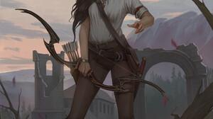 Ilya Ozornin Women Fantasy Art Fantasy Girl Standing Bow Archer Brunette Long Hair Boots Necklace Aq 1920x2736 Wallpaper