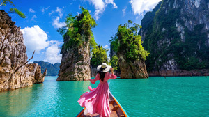 Woman Dress Hat Boat Thailand Rock Rear 1920x1200 Wallpaper