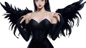 LightBox Bare Shoulders Dress White Background Wings Simple Background Digital Art Drawing Women Art 3096x3096 Wallpaper