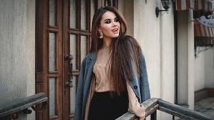 Woman Girl Smile Brunette Long Hair Coat 1920x1280 Wallpaper