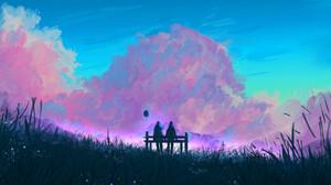 Muhammad Nafay Digital Art Fantasy Art Clouds Pink Couple Bench Outdoors Balloon Sky ArtStation Pink 3840x2160 Wallpaper