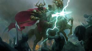 Senfeng Chen Fantasy Art Odin Horse Battle Lightning Spear Sword 1920x1355 wallpaper