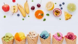 Berry Fruit Ice Cream Still Life Waffle Cone 5491x3432 wallpaper