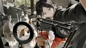 Haikyuu Anime Anime Girls Black Hair Cats Animals Mammals Women Indoors Computer Keyboards Yellow Ey 1920x1236 Wallpaper