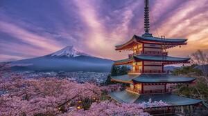 Japan Spring Cherry Blossom Sakura Mount Fuji 1920x1080 Wallpaper