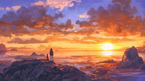 Artwork Digital Art Sunset Dog Nature 1654x827 Wallpaper