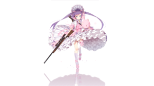 Gun Twintails Pink Dress Teddy Bears Hair Bows Purple Hair Blue Eyes Shotgun 1920x1080 Wallpaper