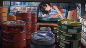 Anime 2D Digital Art Artwork Can Food Markets 2412x1206 Wallpaper