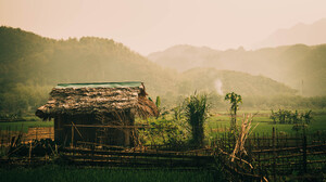 Hut Mountain Rice Paddy Vietnam 5456x3064 Wallpaper