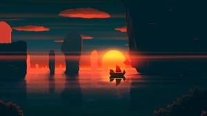 Oriental Rock Sun Sunset 2560x1440 Wallpaper