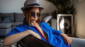 Women Portrait Hat Sunglasses Sitting Blue Shirt Yuriy Lyamin 1800x1202 Wallpaper
