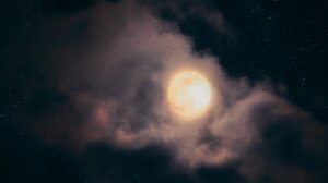 Moon Clouds Sky Stars Nature Moonlight 2048x1152 Wallpaper