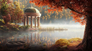 Andrew Palyanov Lake Forest Digital Art Illustration Fall Trees Boat Dock 1920x1072 Wallpaper