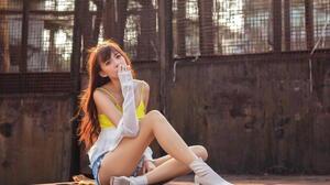 Asian Model Women Long Hair Brunette Depth Of Field Sitting Jeans Shorts Shirt Fence Short Socks Sho 1920x1257 wallpaper