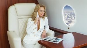 Women Nikolas Verano Sitting Airplane Blonde Table Smiling Smartphone Magazine White Clothing Eyebro 2560x1709 Wallpaper
