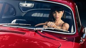 Ana De Armas Brunette Actress Red Cars Classic Car Women With Cars 2000x1166 Wallpaper