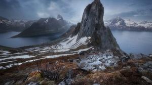 Lofoten Lofoten Islands Nordic Landscapes Landscape Nature Rock Mountains Cold Snow Water Norway 3680x2454 Wallpaper