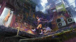 Liu Qing Artwork ArtStation Women Dog Animals City Standing Urban Women Outdoors 1920x960 wallpaper