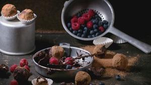 Berry Blueberry Chocolate Fruit Raspberry Still Life 5184x3456 Wallpaper