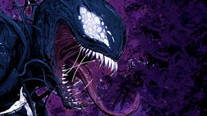 Venom Marvel Comics Villains Illustration Comic Art Artwork Profile Purple Tongue Out 1920x1080 Wallpaper