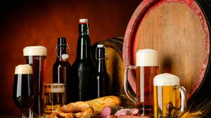 Alcohol Barrel Beer Bottle Drink Glass Meat Still Life 7128x4912 Wallpaper