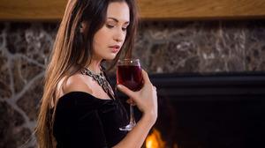 Women Model Necklace Red Lipstick Black Dress Wine Glass Women Indoors Bare Shoulders Brunette 2880x1800 Wallpaper