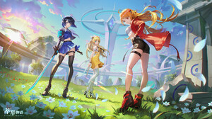 Bluezima Drawing Anime Girls Redhead Blue Hair Blonde Weapon Sword Boots Low Angle Sunlight Grass Pe 1920x1080 Wallpaper