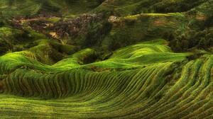 Field Rice Paddy Terraces Villages Hills Green Trees Farm Landscape Nature 2293x1078 Wallpaper