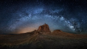 Landscape Milky Way Night Rock Starry Sky Stars 2400x1140 Wallpaper