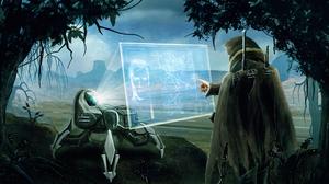 Warrior Robot Hologram 5559x3127 Wallpaper