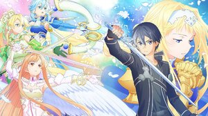 Anime Girls Sword Art Online Anime Boys Kirigaya Kazuto Kirigaya Suguha Alice Zuberg Yuuki Asuna Asa 2048x1195 Wallpaper