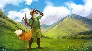 Furry Anthro Fox Ears Mountains Grass Clouds Tail 5000x3000 Wallpaper