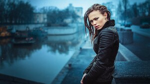 Women Dreadlocks Rain Ivan Gorokhov Cyan Snowing 2000x1333 Wallpaper