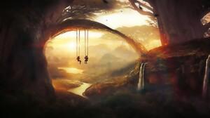 Artwork Fantasy Art Digital Art Forest Nature Painting Swings Children Waterfall T1na 1920x1080 Wallpaper