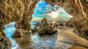 Beach Cave Cloud Earth Hdr Horizon Ocean Rock Sea Sky Sunrise 2048x1401 wallpaper
